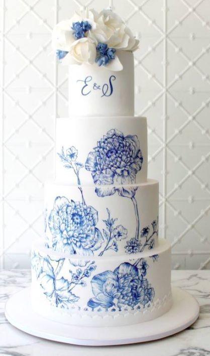 wedding cake dipinta a mano