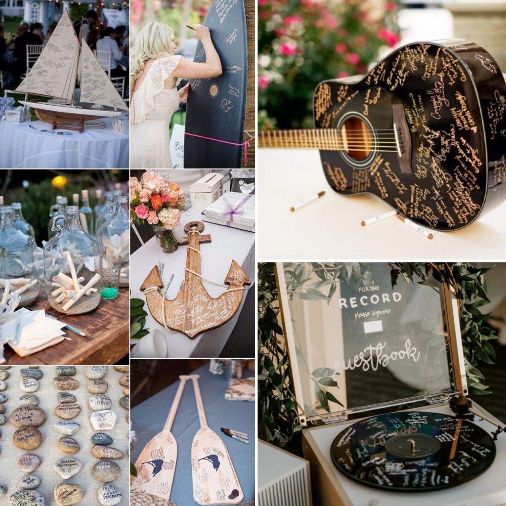 guestbook con oggetti in tema con le nozze